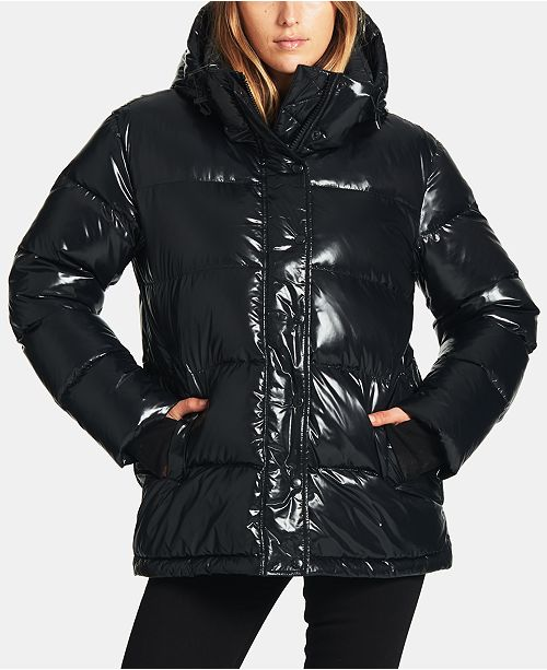 S13 High-Shine Hooded Down Puffer Coat
