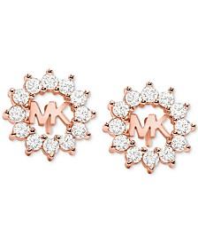 Michael Kors Crystal Logo Stud Earrings