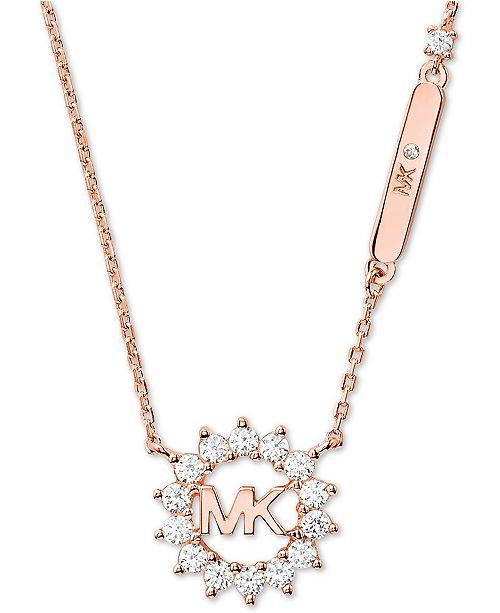 "Michael Kors Crystal Logo 18"" Pendant Necklace"