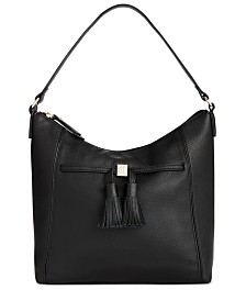 Giani Bernini Pebble Leather Tassel Hobo, Created for Macy's