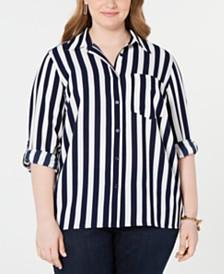 Michael Michael Kors Plus Size Ribbon-Striped Oversized Shirt