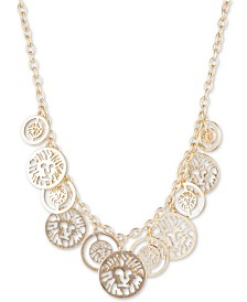 "Anne Klein Gold-Tone Safari Coin Shaky Statement Necklace, 16"" + 3"" extender"