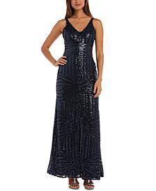Nightway Geo-Sequined Gown