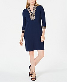 Braided-Trim Shift Dress, Created for Macy's