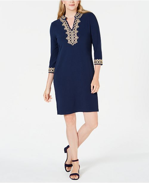 Charter Club Braided-Trim Shift Dress, Created for Macy's