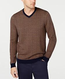 Tasso Elba Men's Merino Herringbone Sweater, Created for Macy's