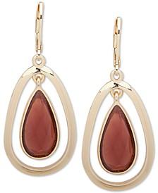 Gold-Tone Colored Crystal Orbital Earrings