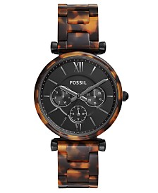 Fossil Women's Carlie Tortoise-Look Bracelet Watch 38mm