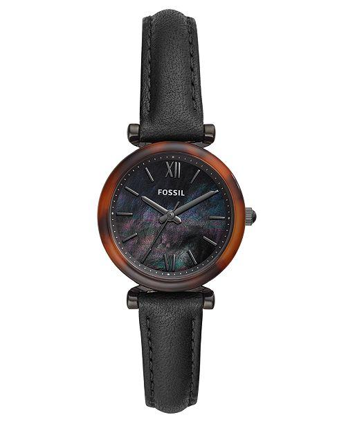 Fossil Women's Mini Carlie Black Leather Strap Watch 28mm