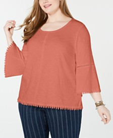 Style & Co Plus Size Crochet-Trim Bell-Sleeve Top, Created for Macy's