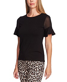 Fitted Flutter Sleeve Blouse