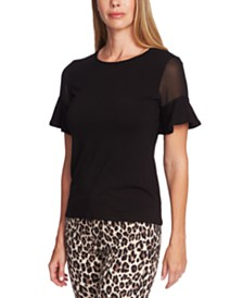 Vince Camuto Fitted Flutter Sleeve Blouse