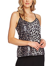Leopard-Print Sequined Camisole