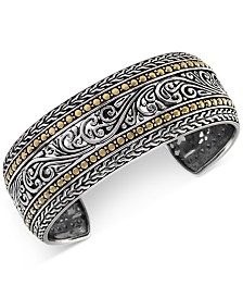 EFFY® Filigree Wide Cuff Bracelet in Sterling Silver & 18k Gold