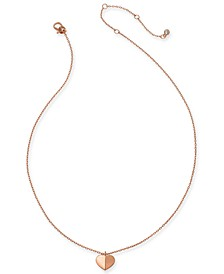 "Gold-Tone, Silver Tone or Rose-Gold Tone Heart Pendant Necklace, 16"" + 3"" Extender"