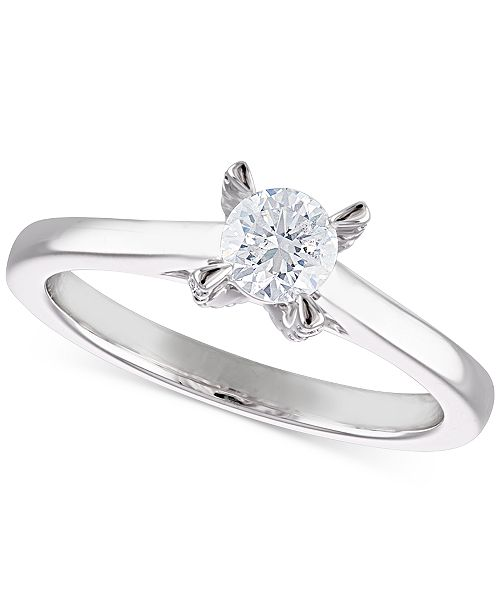 Macy's Certified Diamond Solitaire Engagement Ring (1/2 ct. t.w.) in 14k White Gold