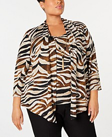 Plus Size Street Smart Printed Layered-Look Necklace Top