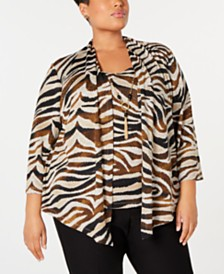 Alfred Dunner Plus Size Street Smart Printed Layered-Look Necklace Top