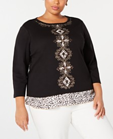 Alfred Dunner Plus Size Street Smart Embroidered Layered-Look Top