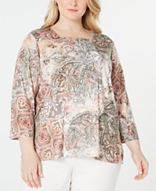Alfred Dunner Plus Size Cedar Canyon Printed 3/4-Sleeve Top