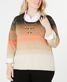 Alfred Dunner Plus Size Street Smart Layered-Look Necklace Top