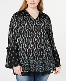 Style & Co Lace-Trim Mixed-Print Top, Created for Macy's