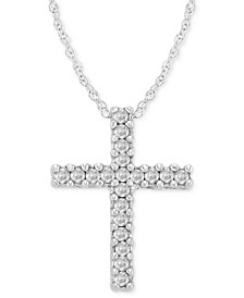 Diamond Cross Pendant Necklace in 14k White Gold (1/10 ct. t.w.)