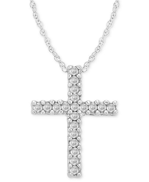 Macy's Diamond Cross Pendant Necklace in 14k White Gold (1/10 ct. t.w.)