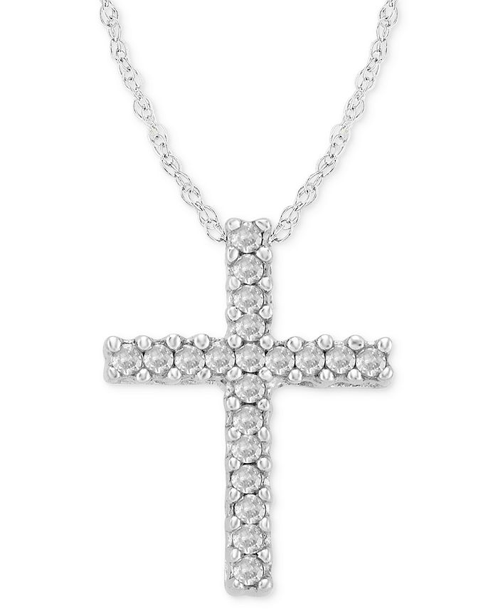 Macy's - Diamond Cross Pendant Necklace in 14k White Gold (1/10 ct. t.w.)