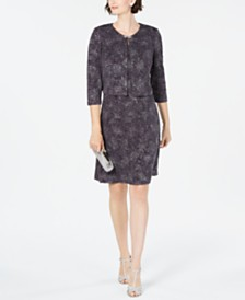 Alex Evenings Jacquard-Knit Dress & Jacket
