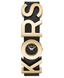 Michael Kors Women's Kors Logo Black Leather Strap Watch 21mm