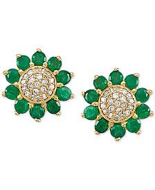 Emerald (3/8 ct. t.w.) & Diamond (1/10 ct. t.w.) Flower Stud Earrings in 14k Gold