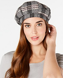 INC Herringbone-Plaid Beret, Created for Macy's
