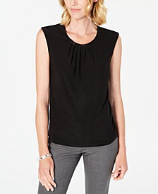 Petite Hardware-Trim Pleated-Neck Top