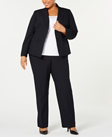 Le Suit Plus Size Mini Pinstripe Two-Button Pantsuit