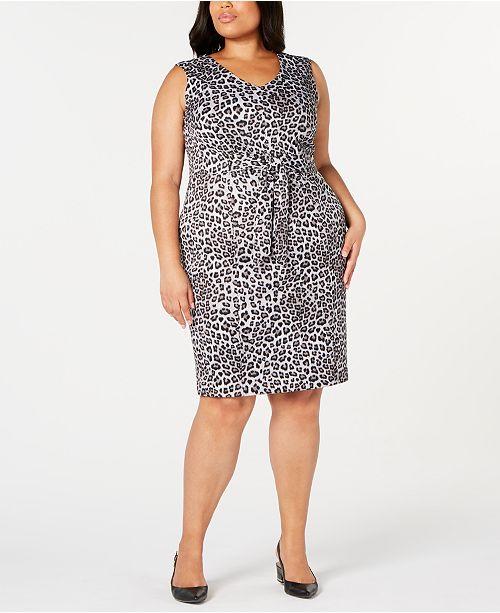 Plus Size Leopard-Print Tie-Front Sheath Dress