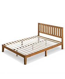 "Alexia 12"" Wood Platform Bed with Headboard, Rustic Pine Finish Collection"