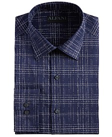 Men's Slim-Fit Performance Stretch Modern Slub Print Dress Shirt, Created for Macy's