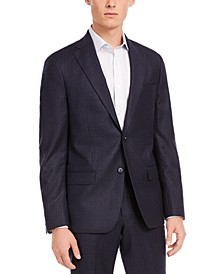 Men's Modern-Fit Stretch Navy Stripe Flannel Suit Separate Jacket