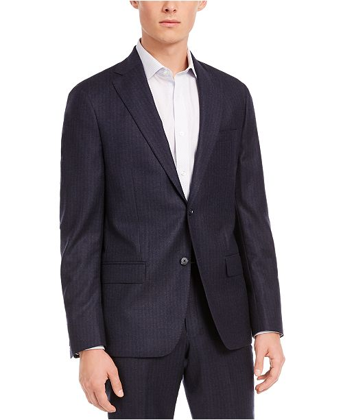 DKNY Men's Modern-Fit Stretch Navy Stripe Flannel Suit Separate Jacket