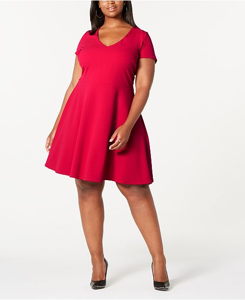 Trendy Plus Size Bow-Back Skater Dress, Created for Macy\'s