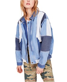 Free People Panel Denim Bomber Jacket