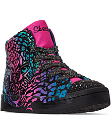 Skechers Little Girls Twinkle Toes Twi-Lites Wild Cutie High-Top Light-Up Casual Sneakers from Finish Line