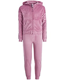 Big Girls Velour Zip-Up Hoodie & Side-Taped Velour Sweatpants, Created for Macy's