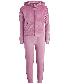 Ideology Big Girls Velour Zip-Up Hoodie & Side-Taped Velour Sweatpants, Created for Macy's