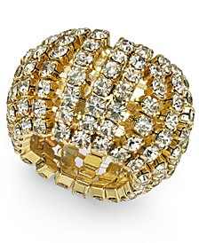 INC Gold-Tone Crystal Stretch Ring, Created for Macy's