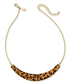 """I.N.C. Gold-Tone Leopard-Print Collar Necklace, 17"""" + 3"""" Extender, Created for Macy's"""