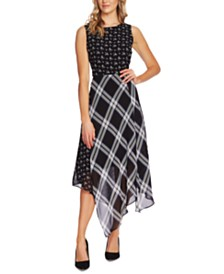 Vince Camuto Mixed-Print Asymmetrical Dress