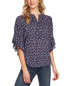 Vince Camuto Ditsy Floral Flutter-Sleeve Blouse