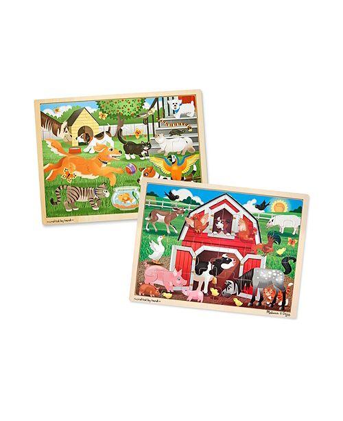 Melissa and Doug 24 Piece Jigsaw Bundle - Pets and Farm